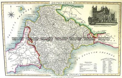 Antique Map 4-189  Devonshire England by I. Slater c.1846 Britain