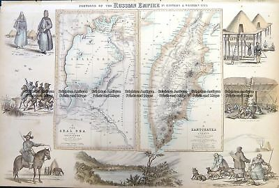 Antique Map 5-250 Russia in Asia - Aral Sea and Kamtchatka by Fullerton  c.1854