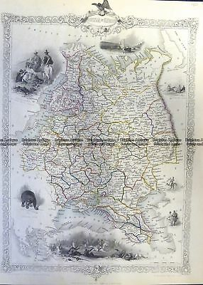 Antique Map 5-245  Russia in Europe by Tallis  c.1851 Russia