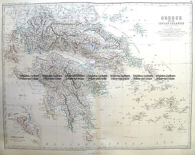 Antique Map 3-398  Greece and Ionian Islands by Johnston c.1864 Greece