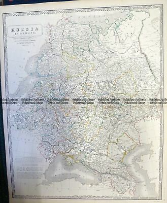 Antique Map 5-248  Russia in Europe by Johnston  c.1857 Russia