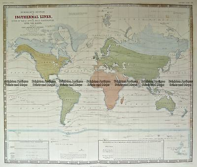 Antique Map 3-815  World with Isothermal Lines by Johnston c.1850