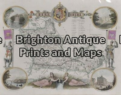Antique Map 4-154 - England - Berkshire Moule - circa 1840 Hand coloured stee...