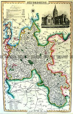 Antique Map 4-193  Oxfordshire England by I. Slater c.1846 Britain