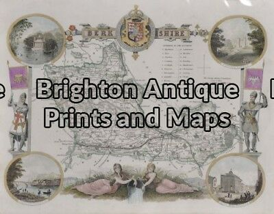 Antique Map 5-161 - England - Berkshire Moule - circa 1840 Hand coloured stee...