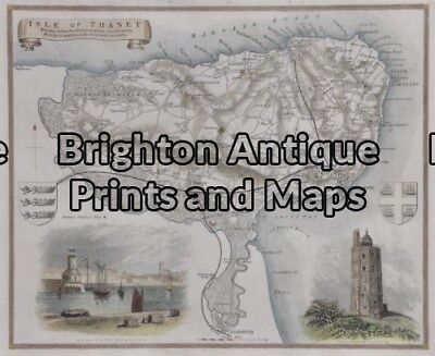 Antique Map 5-166 - England - Isle of Thanet Moule - circa 1840 Hand coloured...