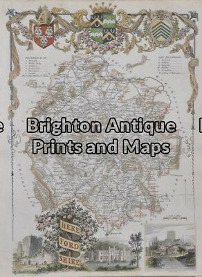 Antique Map 5-164 - England - Herefordshire Hand coloured steel engraving 19c...