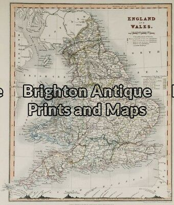 Antique Map 5-141 - England and Wales Downer - circa 1840 Hand coloured steel...