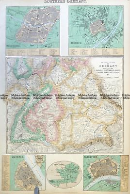 Antique Map 5-226  Germany - Southern by Fullerton  c.1886 Germany