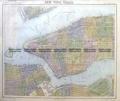 Antique Map 8-201  New York - Lower Manhattan street map by Letts c.1883
