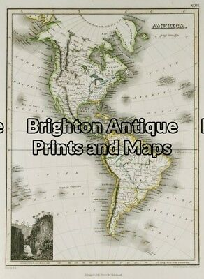 Antique Map 8-171 - North & South America J Thomson - circa 1820 Steel engrav...
