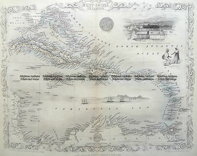 Antique Map 8-189 - West India Islands J Tallis - circa 1851 Steel engravings...