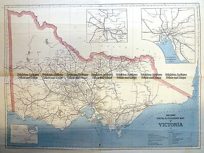 Antique Print Antique Map 3-330  Victoria Railway lines c.1886