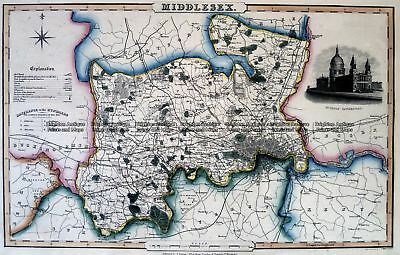 Antique Map 4-197  Middlesex England by I. Slater c.1846 Britain