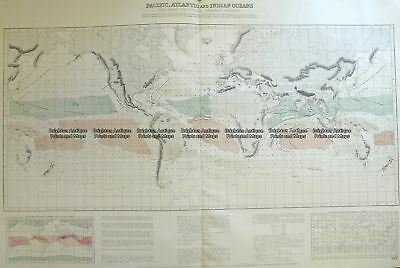 Antique Map 16-260  World - Admiralty chart - Wind chart  c.1879 Thematic