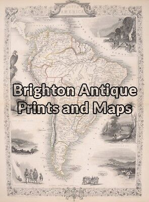 Antique Map 21-205  South America by Tallis circa 1851 South America - Continent