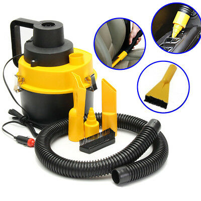 12V Wet & Dry Vacuum Cleaner Inflator Portable Turbo Hand Held for Car Yellow
