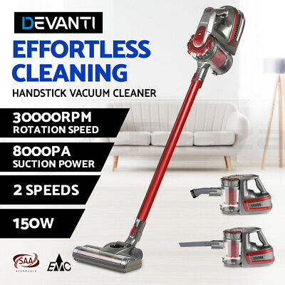 Devanti 150W Stick Cordless Vacuum Cleaner Handheld Handstick Bagless Vac Red
