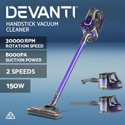 Devanti 150W Cordless Stick Vacuum Cleaner Handheld Bagless Vac 2-Speed Purple