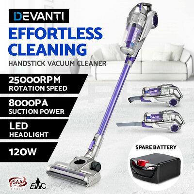 Devanti 120W Stick Vacuum Cleaner Cordless Handheld Bagless Spare Battery Purple
