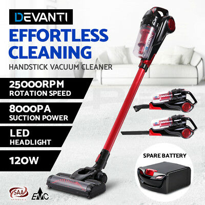 Devanti 120W Stick Vacuum Cleaner Cordless Handheld Bagless Spare Battery Red