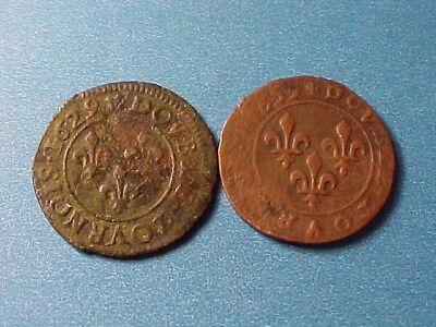 France Double Tournois Pair 1629 & 1639