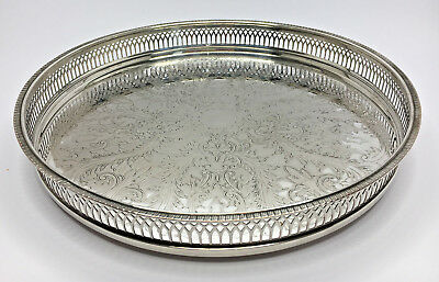 VINTAGE SILVER PLATED SERVING TRAY CIRCULAR ROUND CAVALIER MAKE 30.5cm WIDE