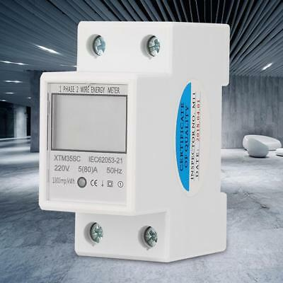 220V 5(80)A Digital 1 Phase 2 Wire DIN-Rail Electric Meter Electronic KWh Meter