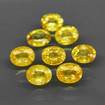 Oval 5x4mm.Heated Only! Pure Yellow Sapphire Ceylon, Srilanka 8Pcs/3.64Ct.