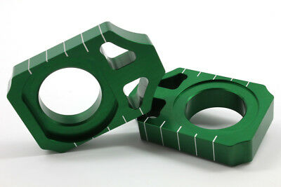 Works Connection Anodized Green Axle Blocks For Kawasaki KX 450 F 16-17 17-129