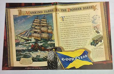 Vintage Original 2 Page Print Ad 1937 Goodyear Tires - Clipper Ship   PA-40