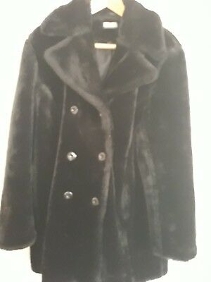 vintage Clock House at Sienna black faux fur double breasted coat size 16