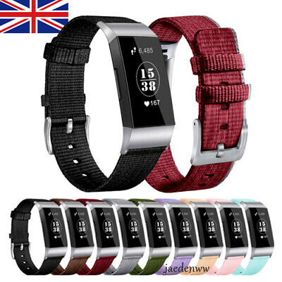 For Fitbit Charge 3 Replacement Nylon Canvas Watch Band Bracelet Wrist Strap UK