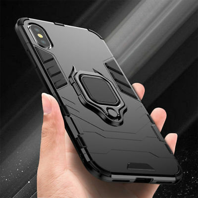 For iPhone 11 Pro XR XS Max 7 8 X Hybrid Magnetic Stand Ring Holder Armor Case