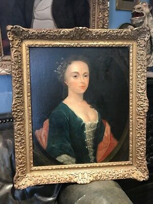 Large Antique Oil Portrait Painting 17th / 18th Century Young Lady