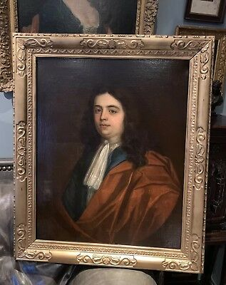 Large Antique 17th / 18th Century Oil Portrait Painting Of A Man Lely Frame