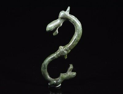 Medieval Viking Bronze Double Headed Dragon Amulet / Pendant - T149