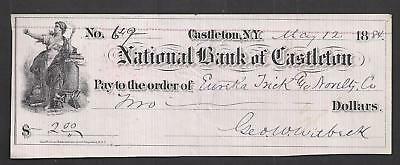 "1884 Castleton New York Bank Check ""Liberty"""
