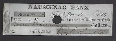 1859 Salem Massachusetts Bank Check