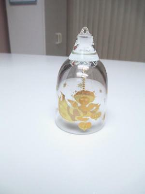 """Bjorn Wiinblad Rosenthal 3 1/2"""" Crystal Bell With Gold Angel Ornament"""