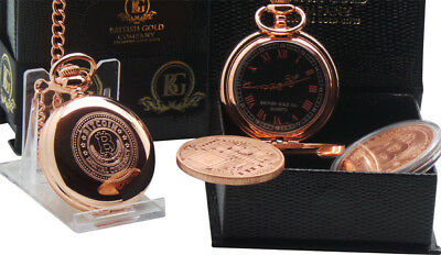 BITCOIN and ROSE Gold Clad Pocket Watch Luxury Gift for Digital Currency Wallet