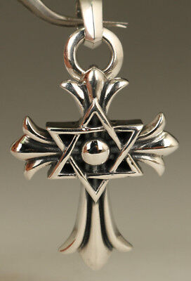 fashion Old Fine 925 silver Handmade Carved cross Statue pendant