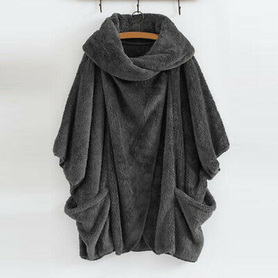 Women Warm Jacket Batwing Sleeve Turn-down Collar Loose Cropped Pullover Z