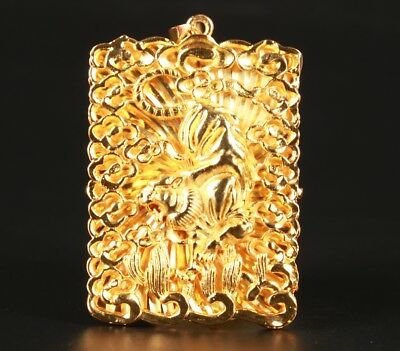 Brass Gilded Hand Carving Dragon Statue Necklace Pendant Rare Collection