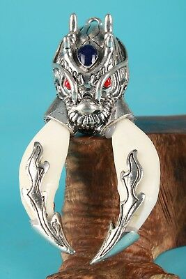 Old Tibetan Silver Handmade Wolf Statue Inlaid Animal Tooth Necklace Pendant