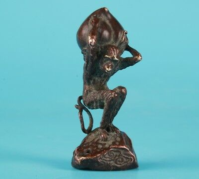 Red Copper Hand Carving Monkey Birthday Peach Statue Old Rare Collection