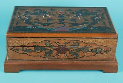 Big Antique Chinese Handmade Painting Royal Lacquer Dragon Jewelry Box
