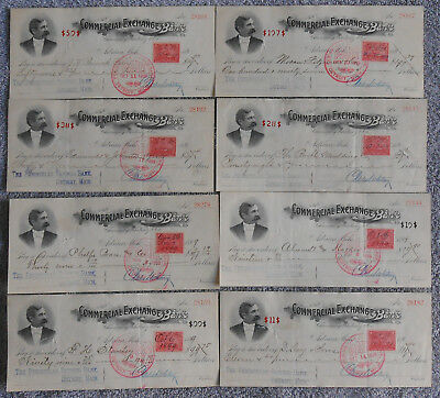 1899 Lot of 8 CHECKS  Commercial Exch. Bank Michigan Battleship Revenue Stamp