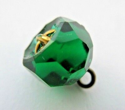 Brilliant Antique~ Vtg Emerald Green GLASS Charmstring BUTTON w/ Gold Luster (V)