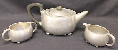 Vintage Liberty Tudric  Pewter Tea Pot Sugar And Milk Bowl 01535 Unboxed (899A1)